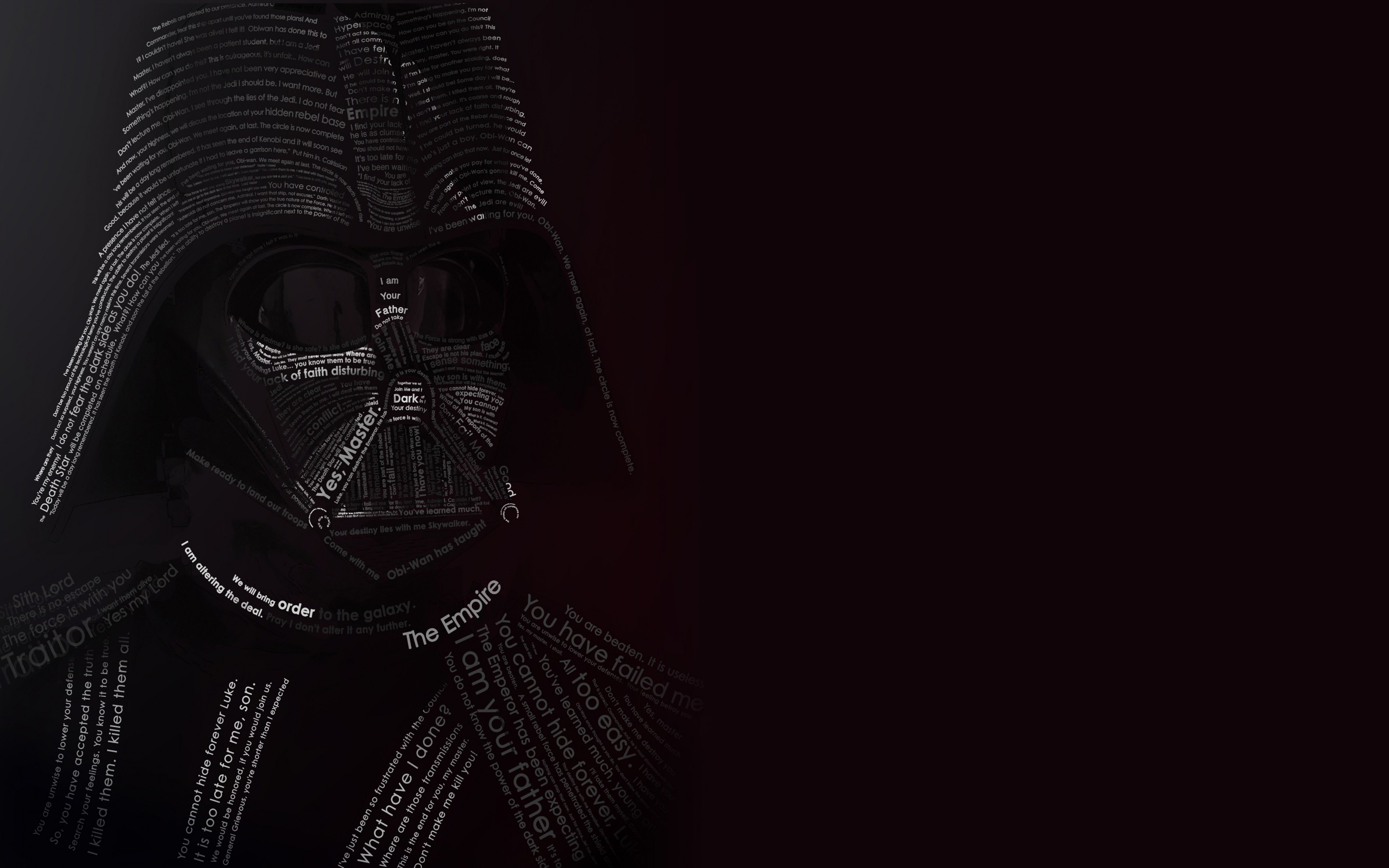 Darth Vader Typographic Portrait Wallpaper for Desktop 2880x1800