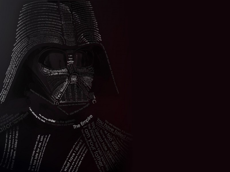 Darth Vader Typographic Portrait Wallpaper for Desktop 800x600
