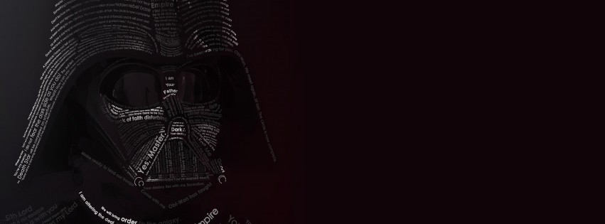 Darth Vader Typographic Portrait Wallpaper for Social Media Facebook Cover