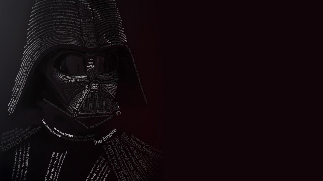 Darth Vader Typographic Portrait Wallpaper for Social Media Google Plus Cover