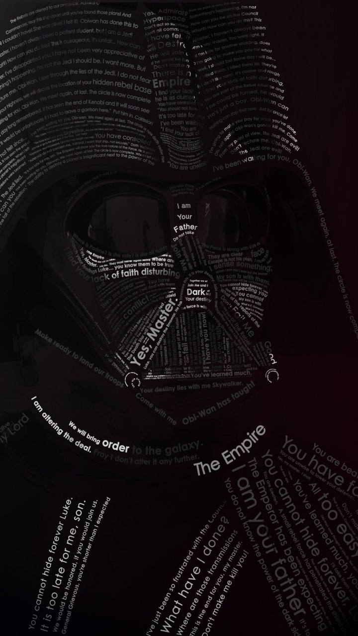 Darth Vader Typographic Portrait Wallpaper for HTC One mini