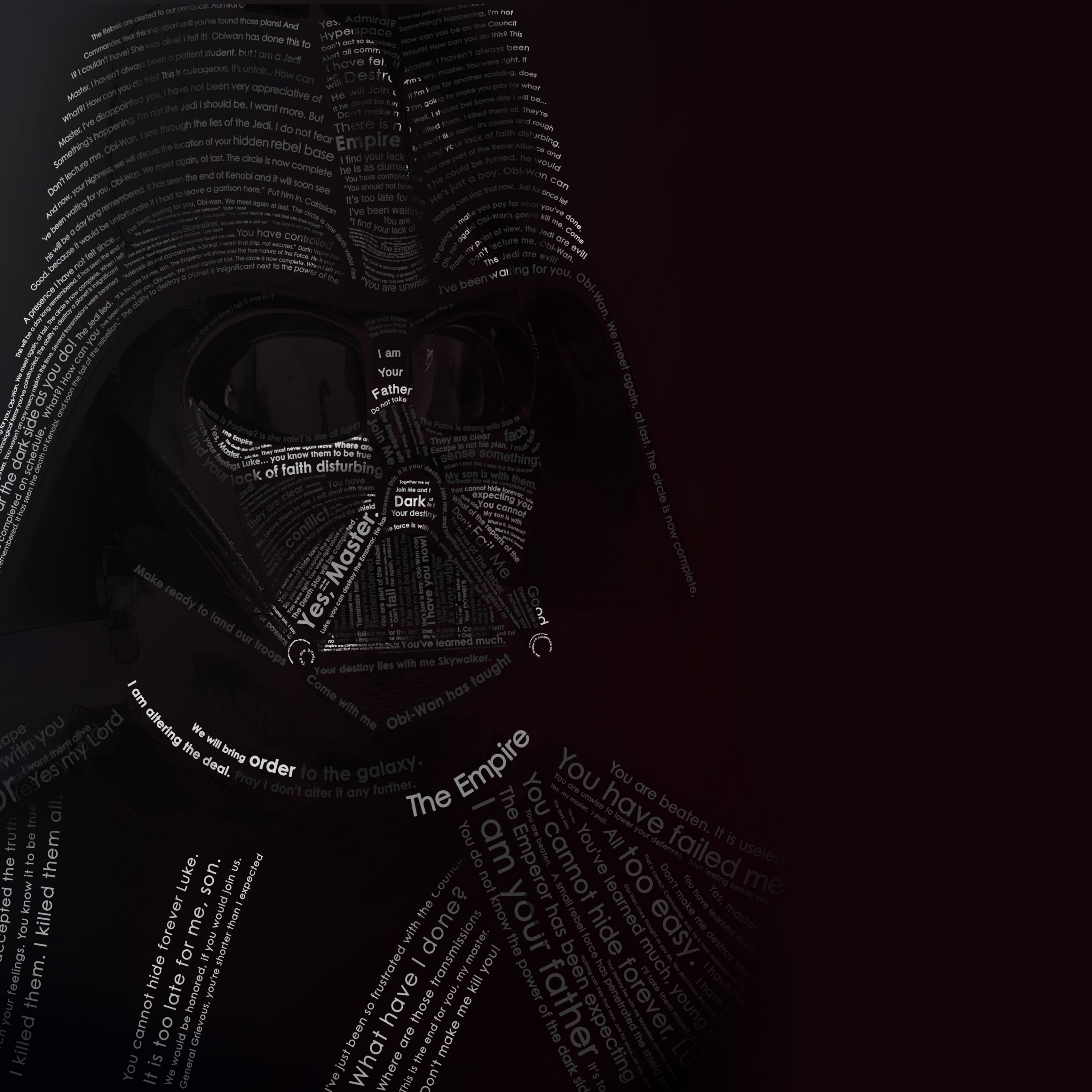 Darth Vader Typographic Portrait Wallpaper for Apple iPad 4