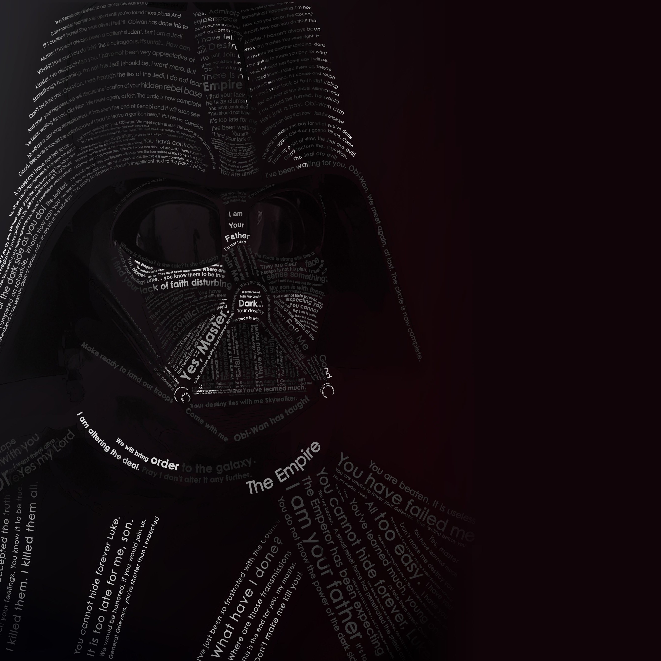 Darth Vader Typographic Portrait Wallpaper for Apple iPhone 6 Plus