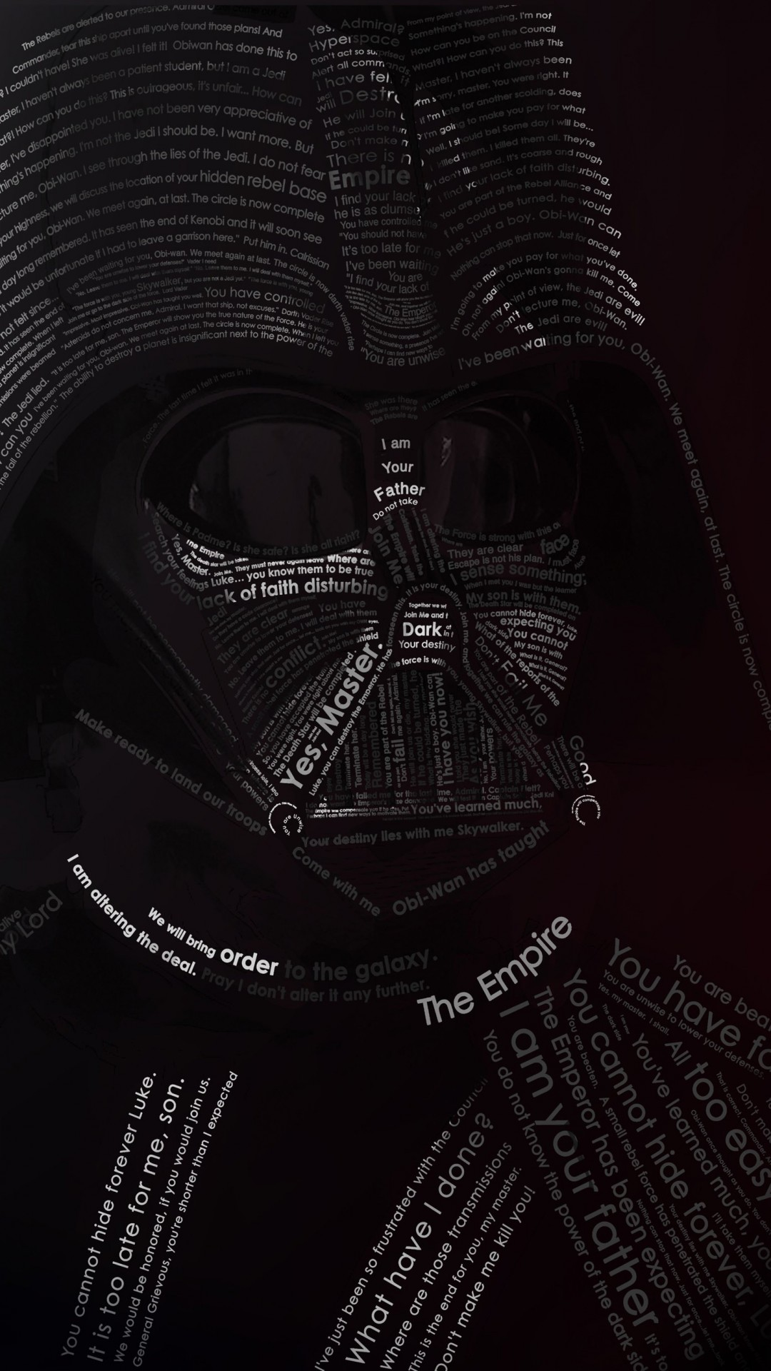 Darth Vader Typographic Portrait Wallpaper for LG G2