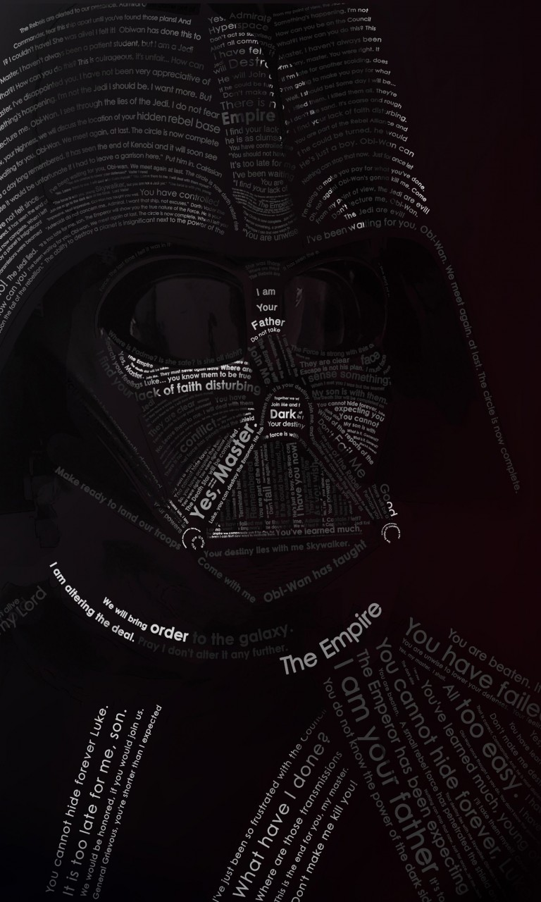 Darth Vader Typographic Portrait Wallpaper for LG Optimus G