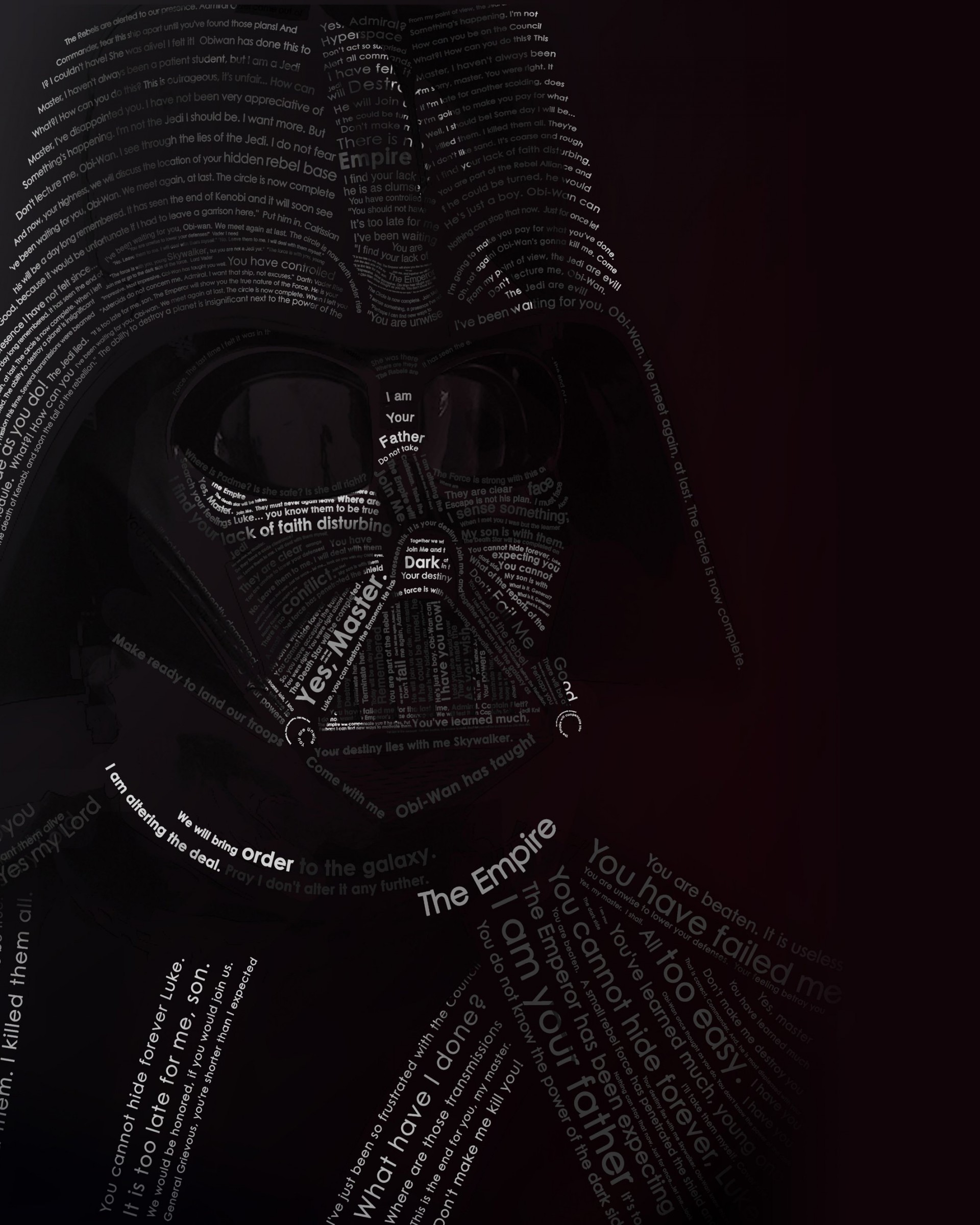 Darth Vader Typographic Portrait Wallpaper for Google Nexus 7