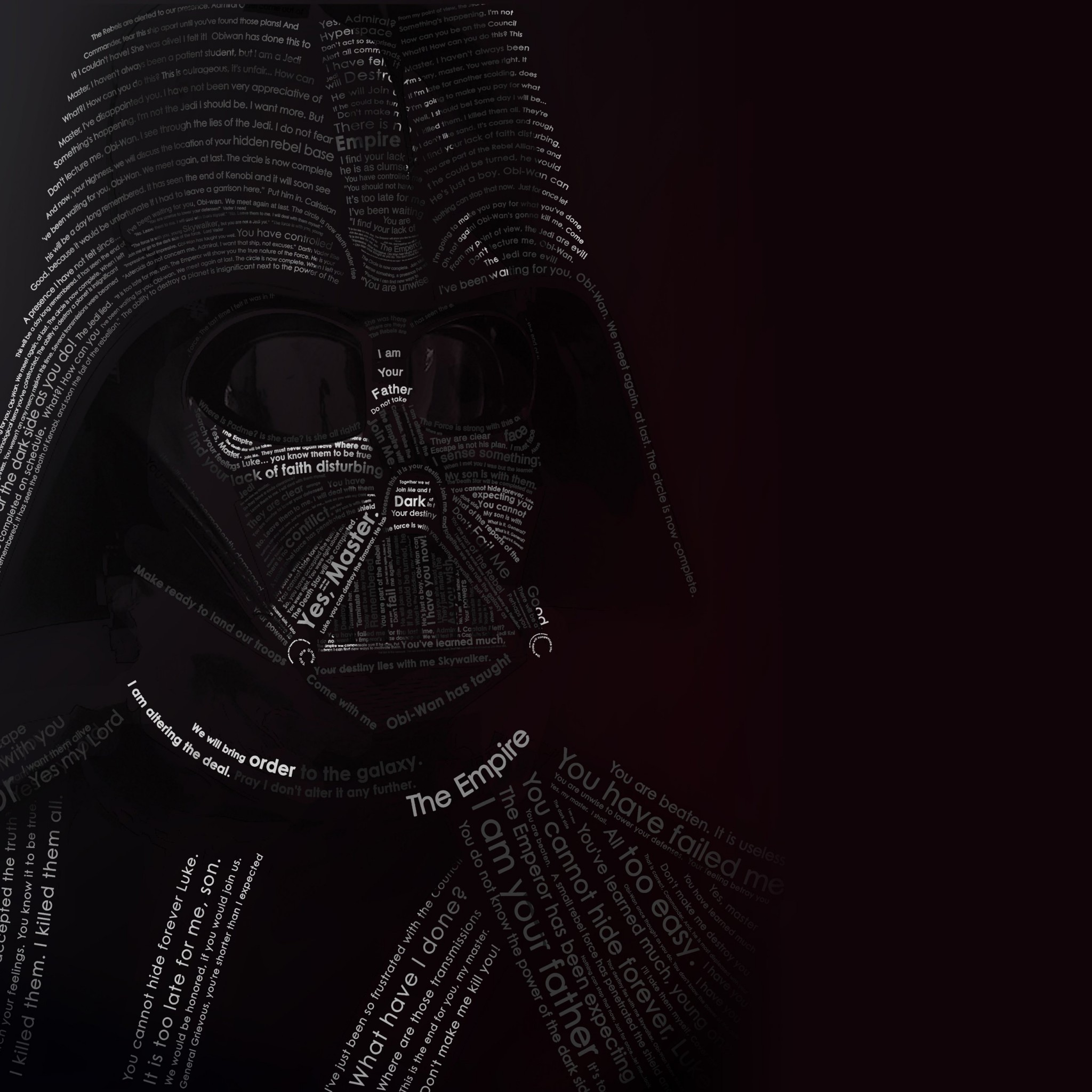 Darth Vader Typographic Portrait Wallpaper for Google Nexus 9