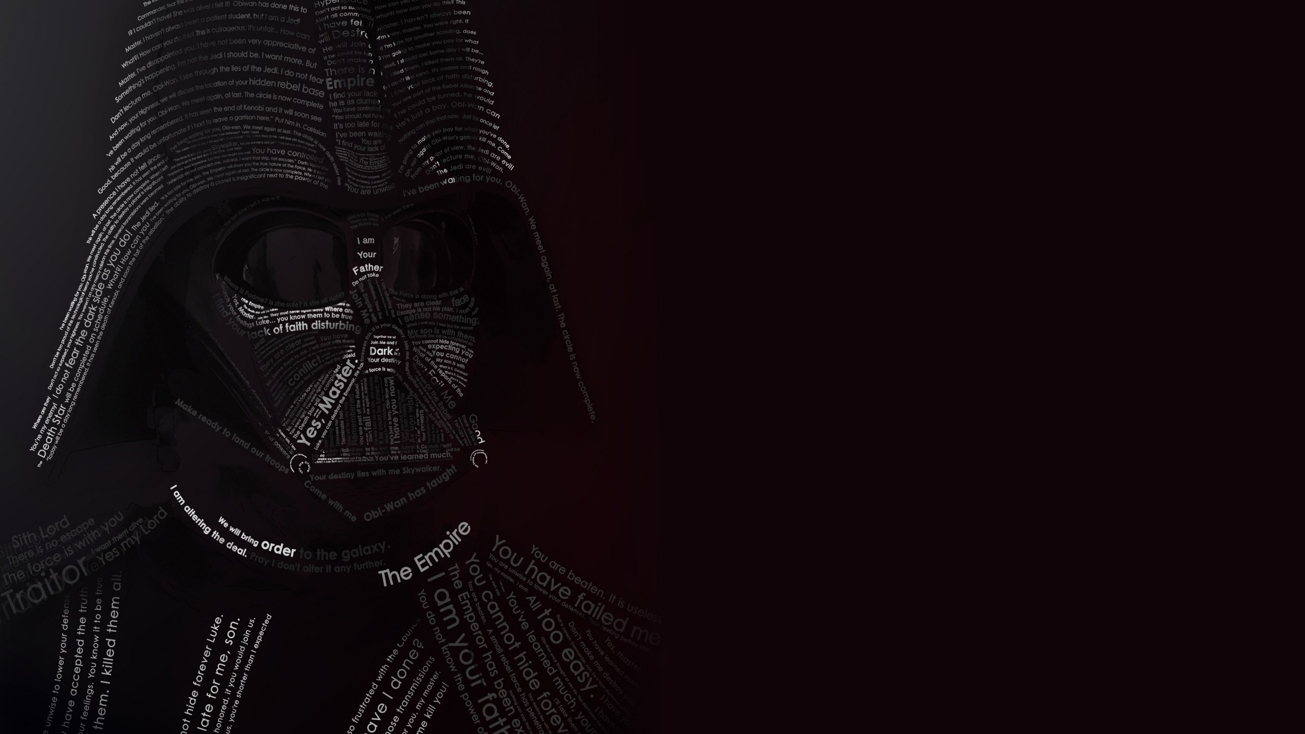 Darth Vader Typographic Portrait Wallpaper for Social Media YouTube Channel Art