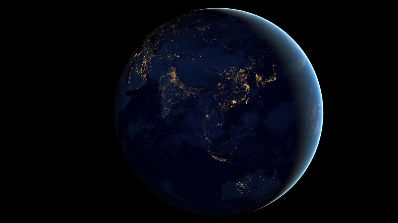 Earth At Night Seen From Space Wallpaper for Desktop 1366x768
