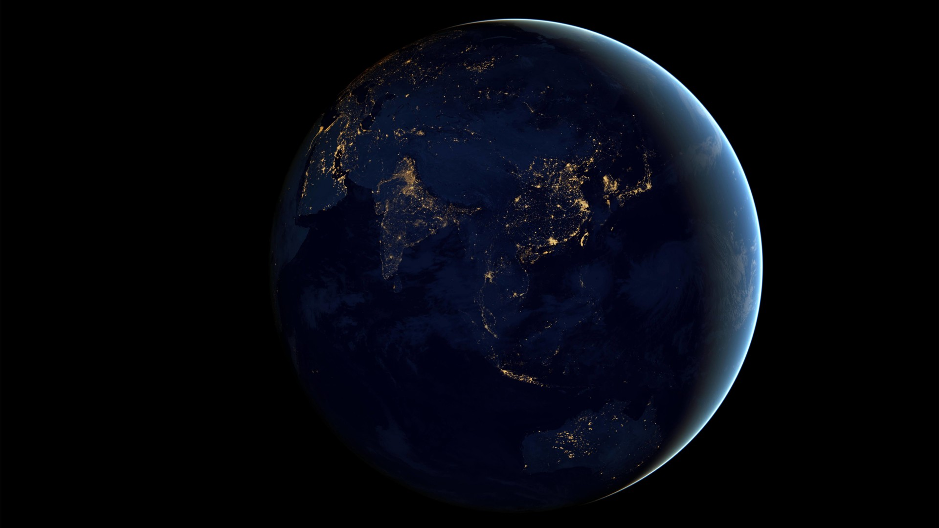 Earth At Night Seen From Space Wallpaper for Desktop 1920x1080