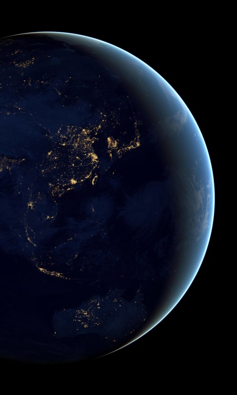 Earth At Night Seen From Space Wallpaper for HTC Desire HD