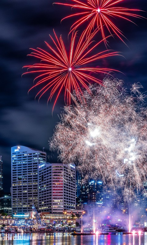 Fireworks In Darling Harbour Wallpaper for HTC Desire HD