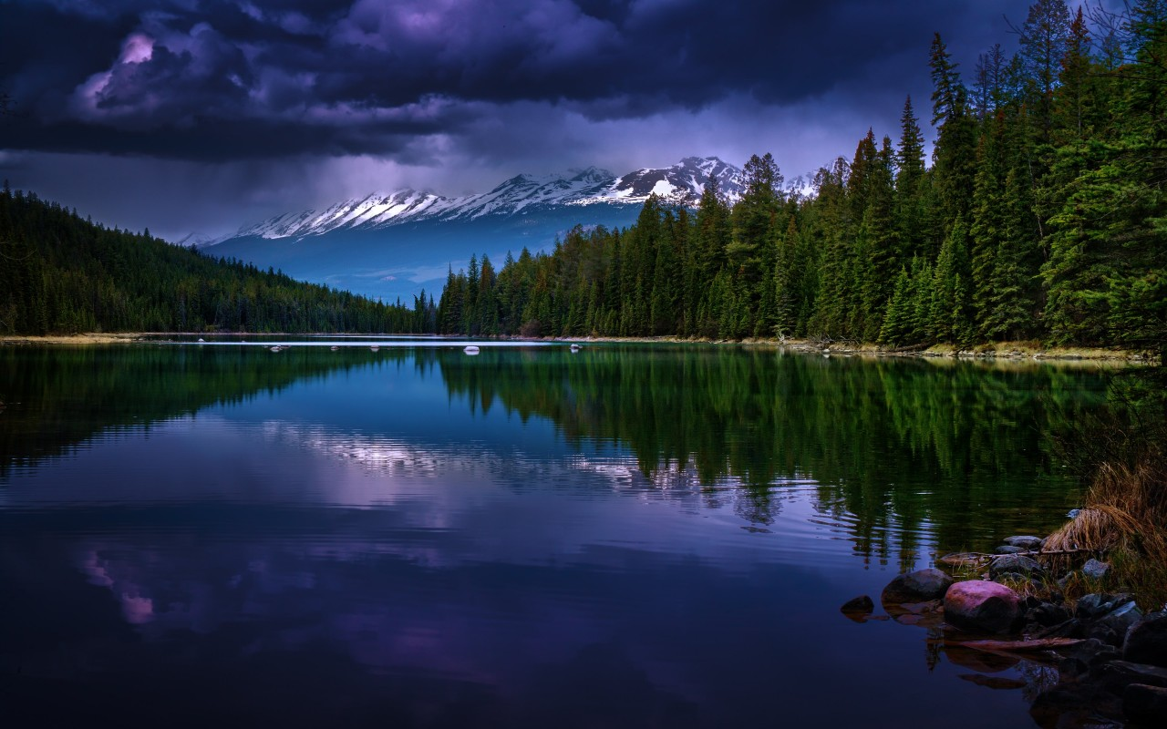 First Lake, Alberta, Canada Wallpaper for Desktop 1280x800