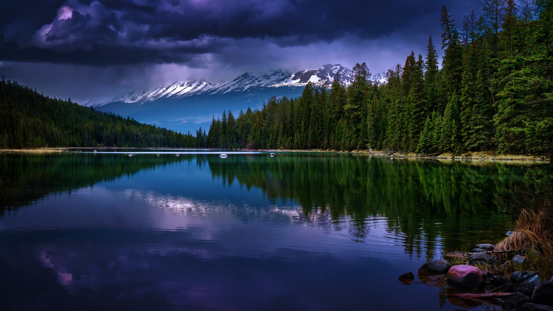 First Lake, Alberta, Canada Wallpaper for Desktop 1920x1080