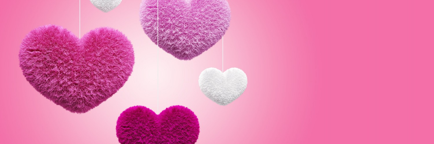 Fluffy Hearts Wallpaper for Social Media Twitter Header