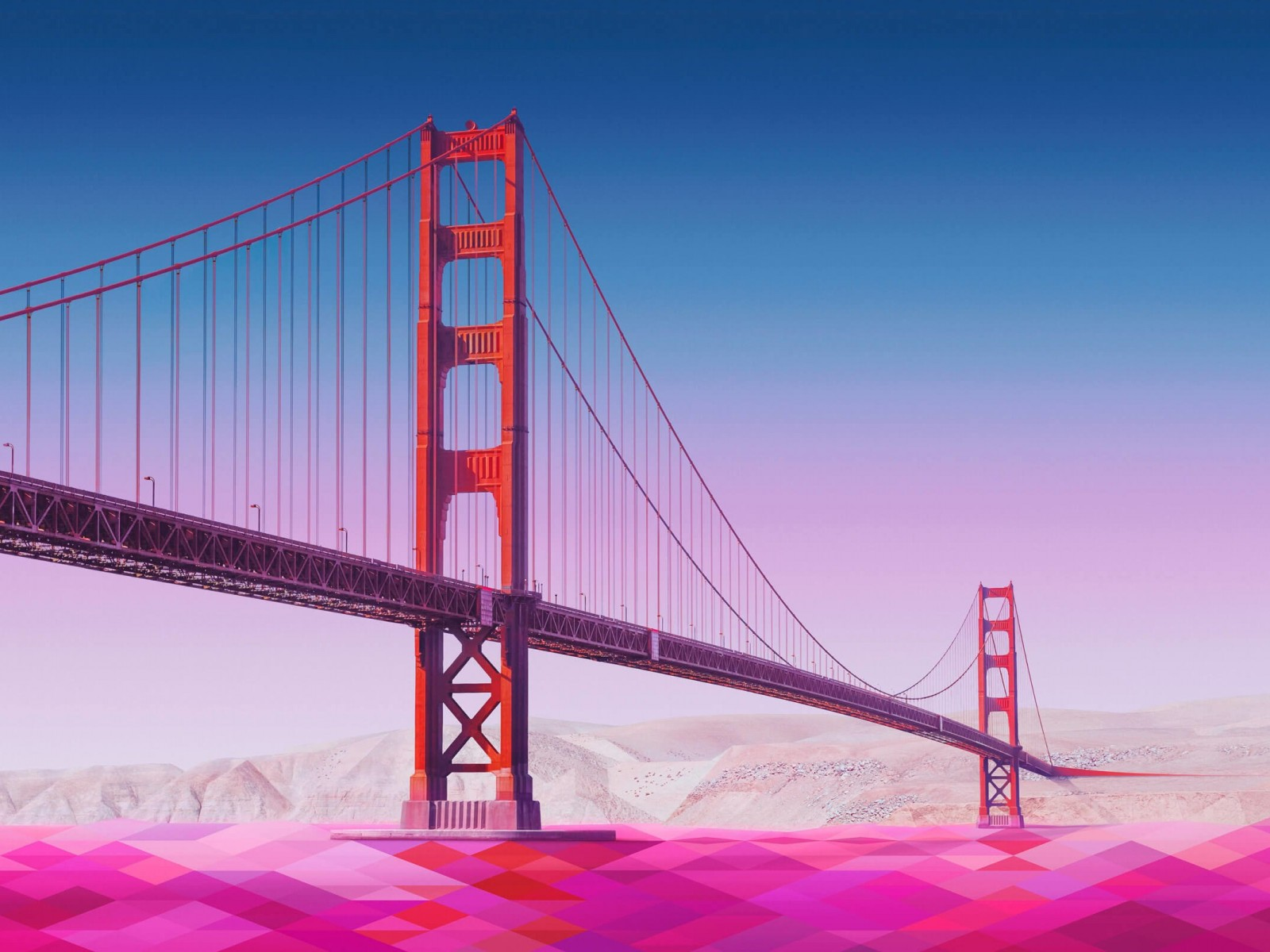 Geometric Golden Gate Bridge Wallpaper for Desktop 1600x1200