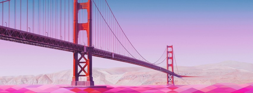 Geometric Golden Gate Bridge Wallpaper for Social Media Facebook Cover