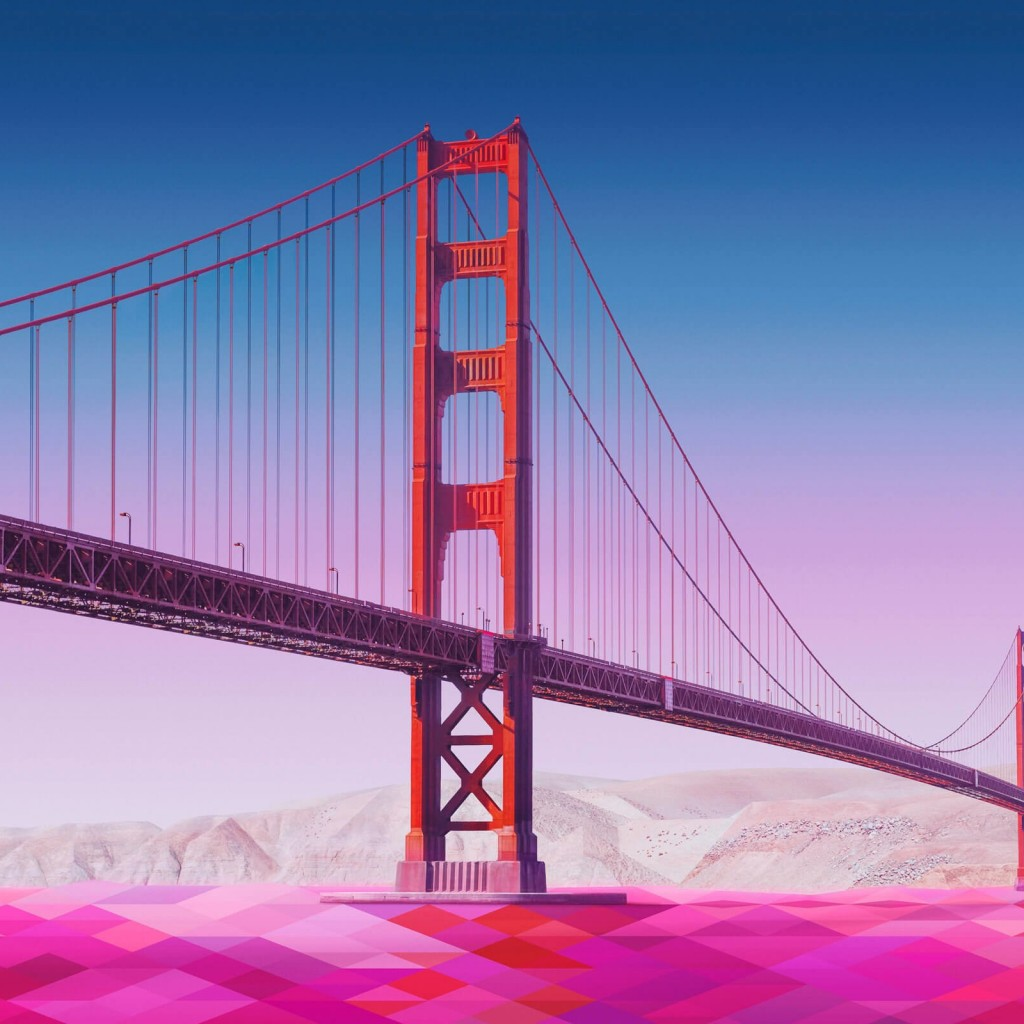 Geometric Golden Gate Bridge Wallpaper for Apple iPad