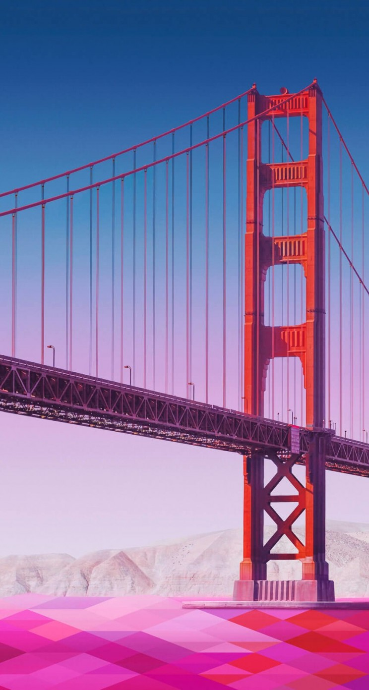 Geometric Golden Gate Bridge Wallpaper for Apple iPhone 5 / 5s