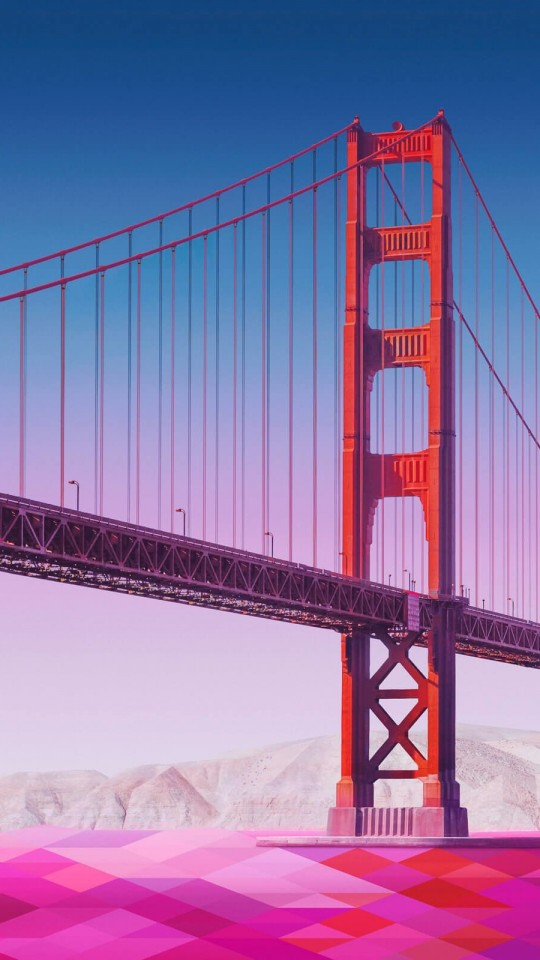 Geometric Golden Gate Bridge Wallpaper for LG G2 mini