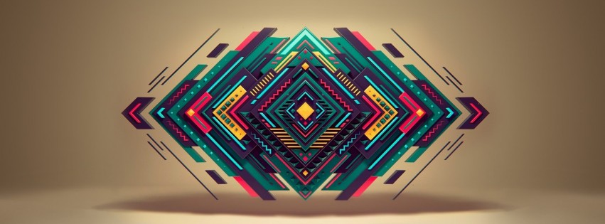 Geometric Shapes Wallpaper for Social Media Facebook Cover