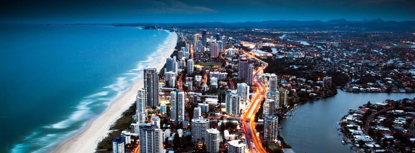 Gold Coast City in Queensland, Australia Wallpaper for Social Media Facebook Cover