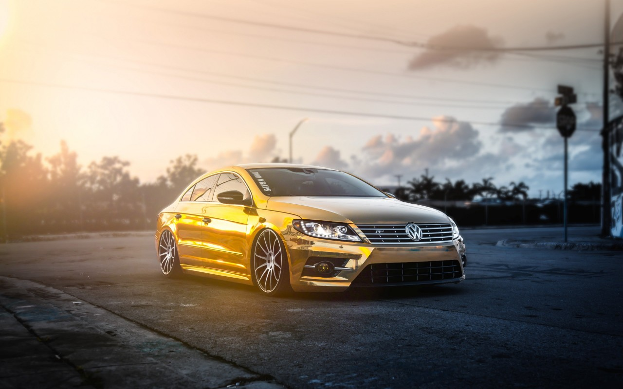 Golden Volkswagen Passat CC Wallpaper for Desktop 1280x800