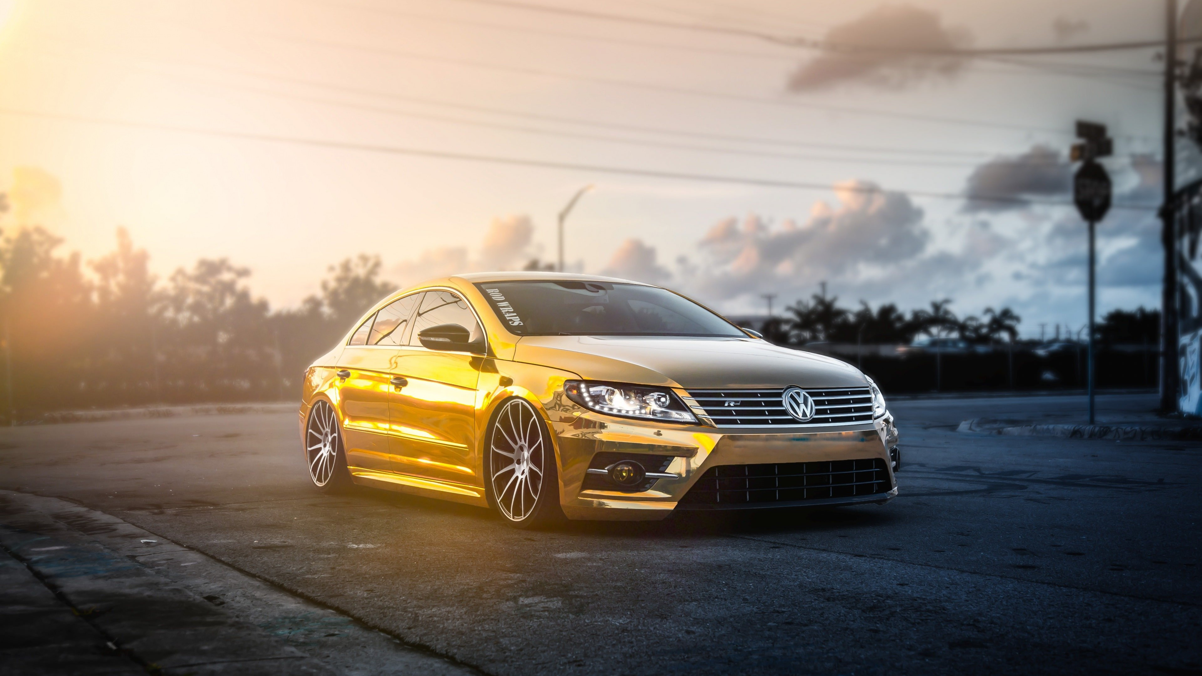 Golden Volkswagen Passat CC Wallpaper for Desktop 4K 3840x2160