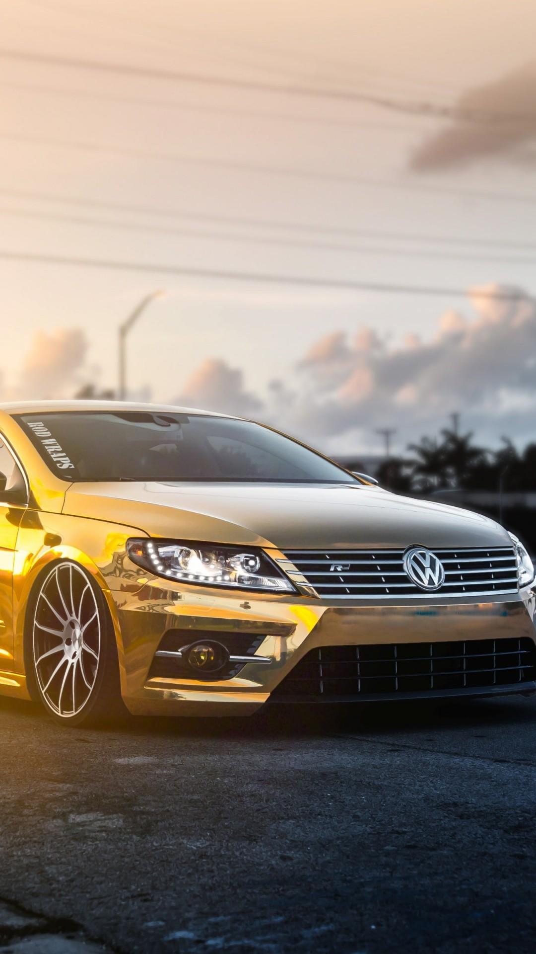 Golden Volkswagen Passat CC Wallpaper for SAMSUNG Galaxy Note 3