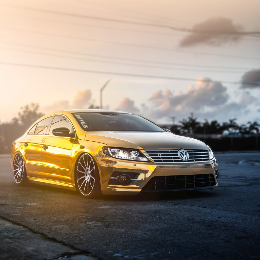 Golden Volkswagen Passat CC Wallpaper for Apple iPad 2