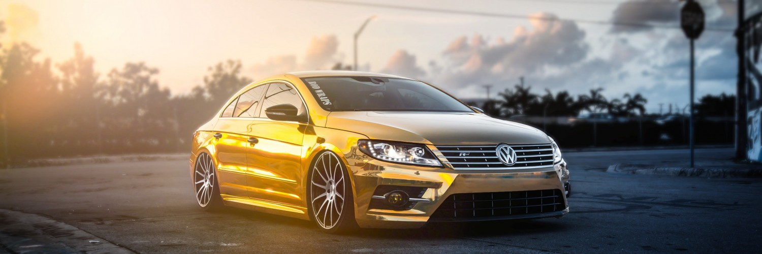 Golden Volkswagen Passat CC Wallpaper for Social Media Twitter Header