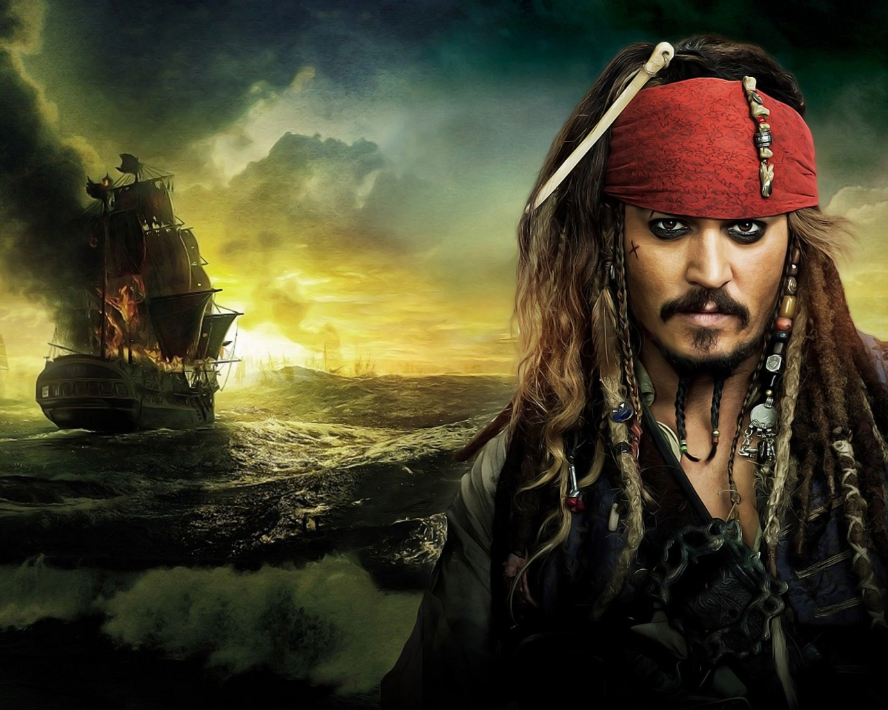 Jack Sparrow - Pirates Of The Caribbean Wallpaper for Desktop 1280x1024