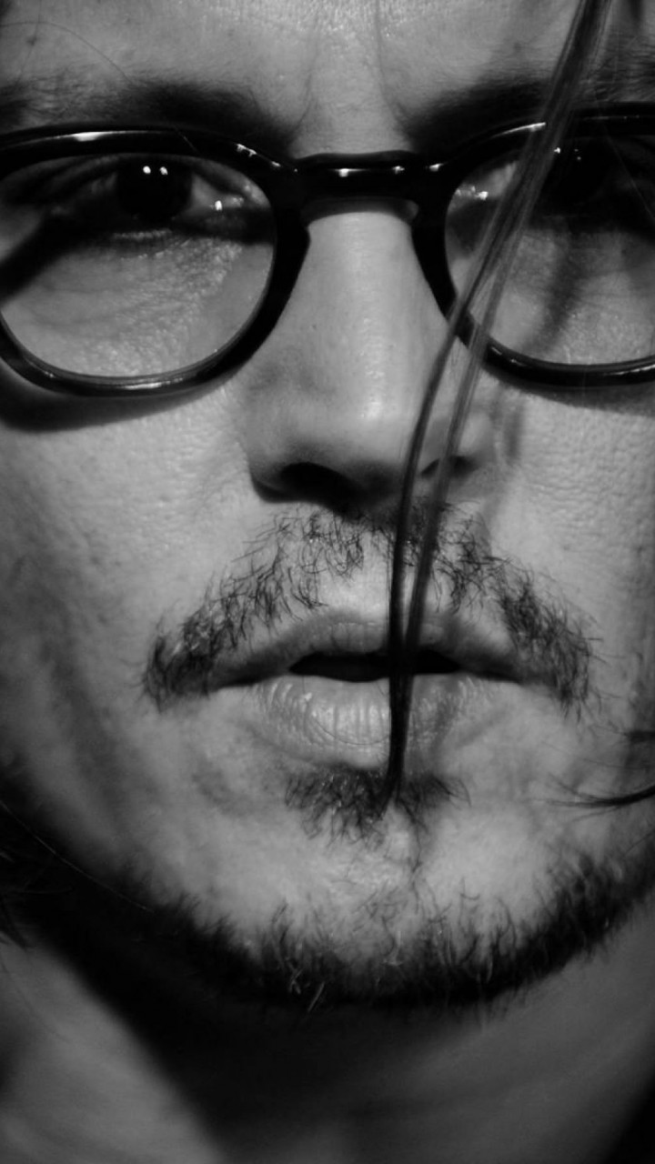 Johnny Depp Black & White Portrait Wallpaper for HTC One X