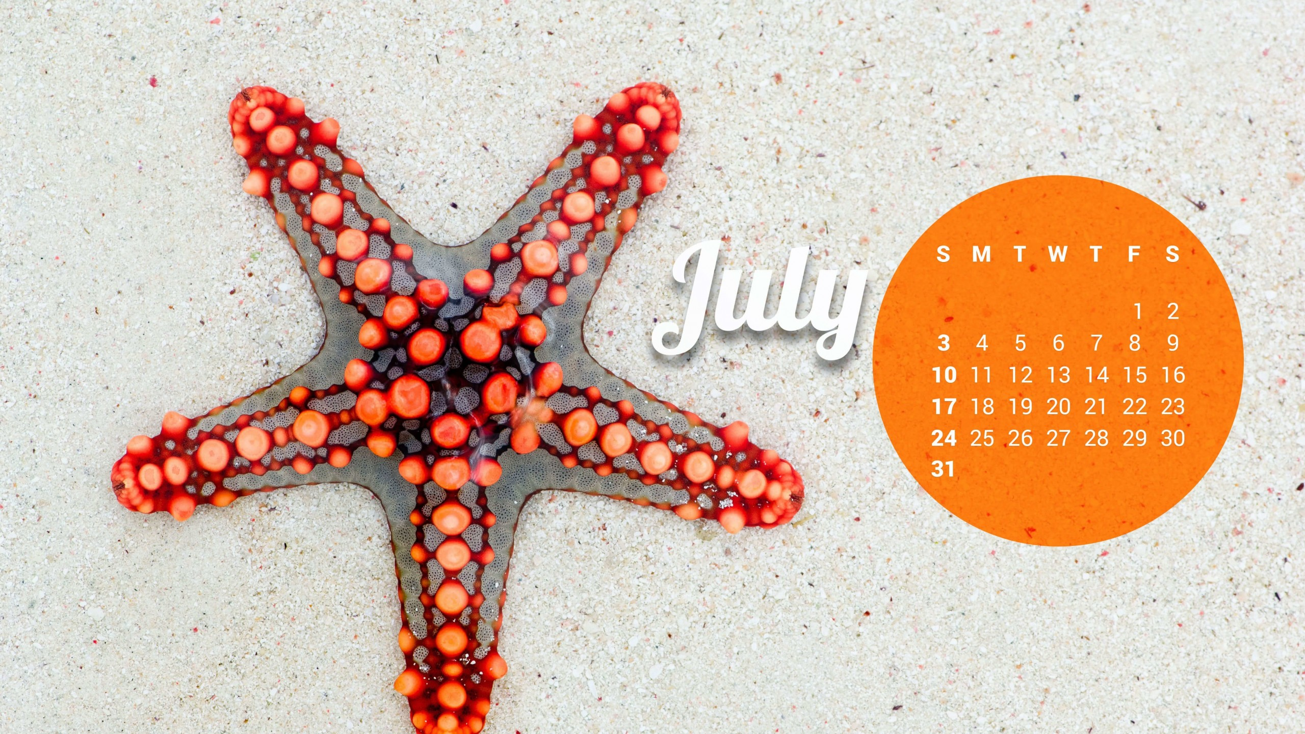 July 2016 Calendar Wallpaper for Desktop 2560x1440