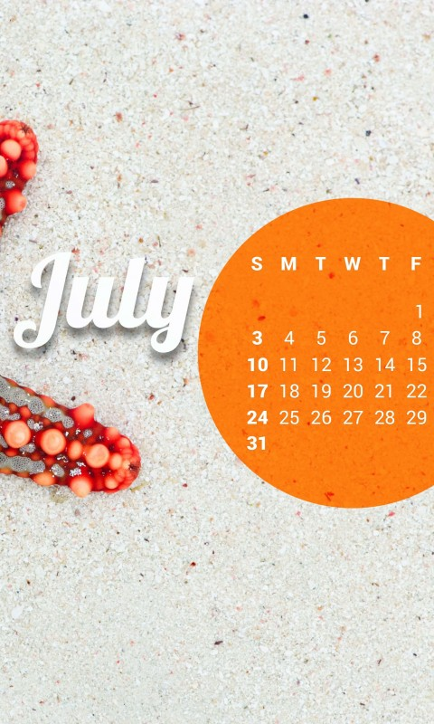 July 2016 Calendar Wallpaper for HTC Desire HD