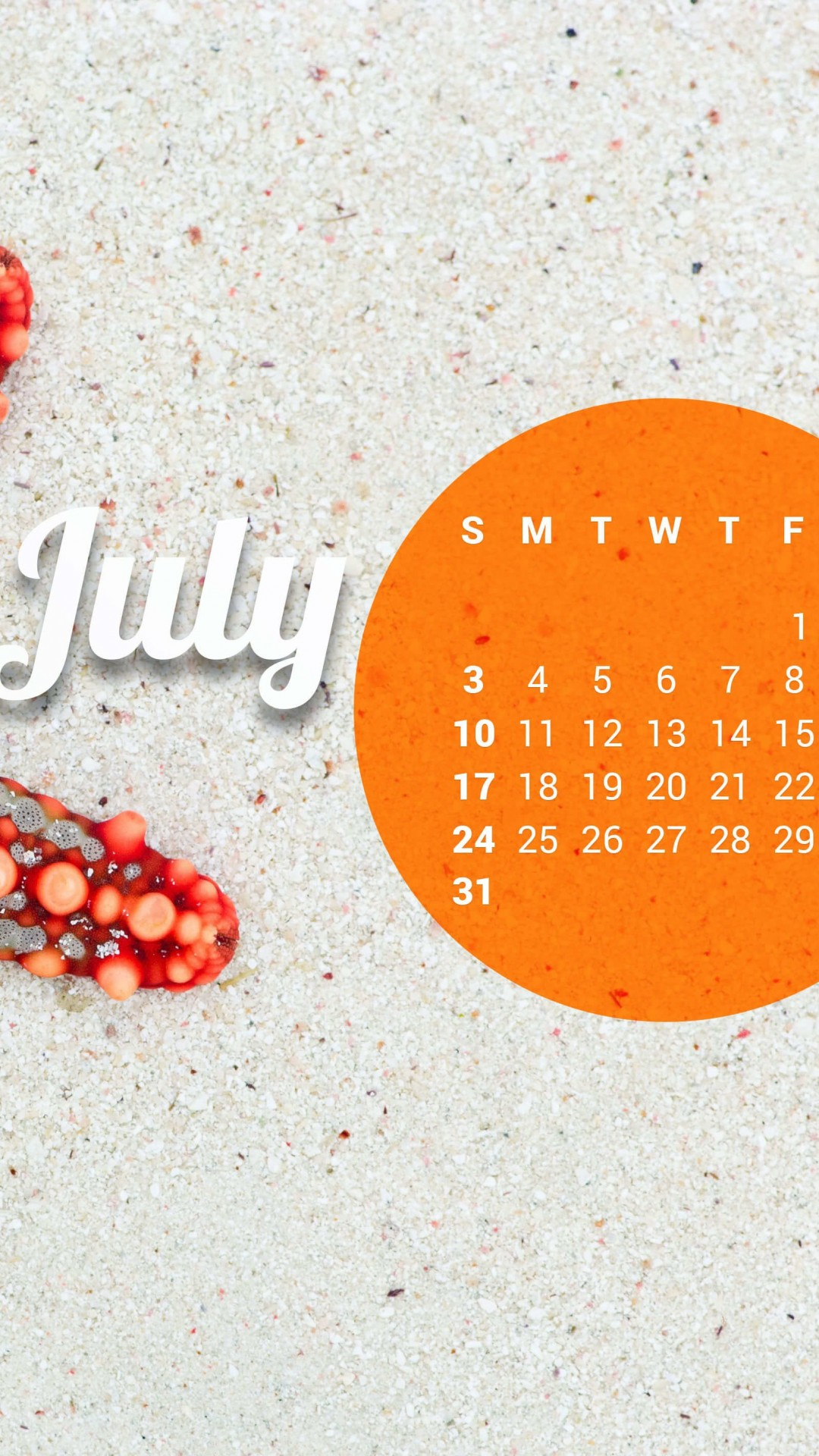 July 2016 Calendar Wallpaper for Google Nexus 5
