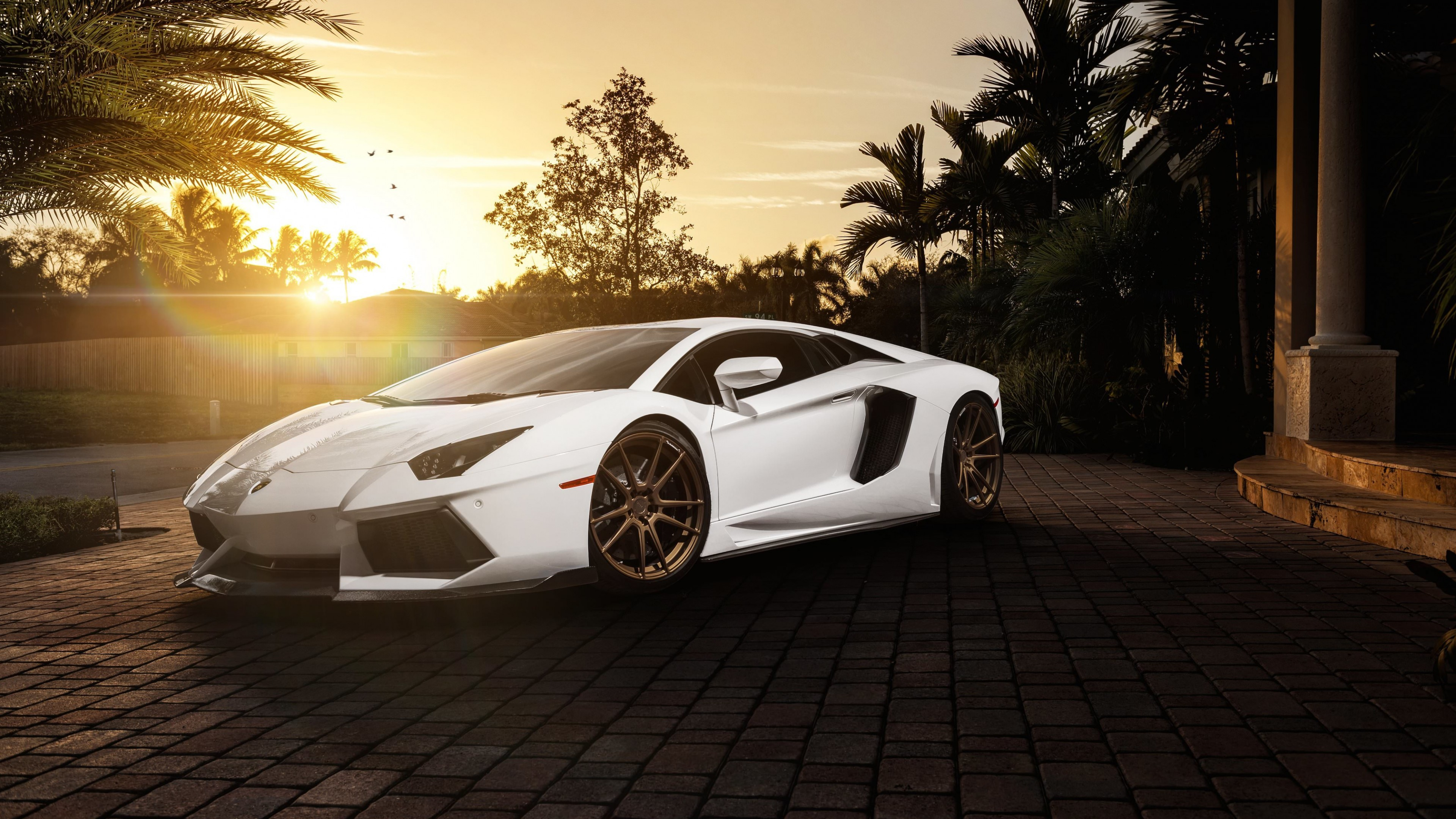 Lamborghini Aventador LP700-4 in White Wallpaper for Desktop 4K 3840x2160
