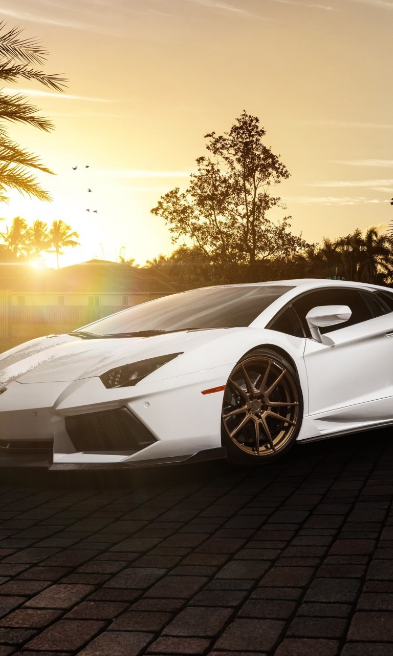 Lamborghini Aventador LP700-4 in White Wallpaper for Google Nexus 4