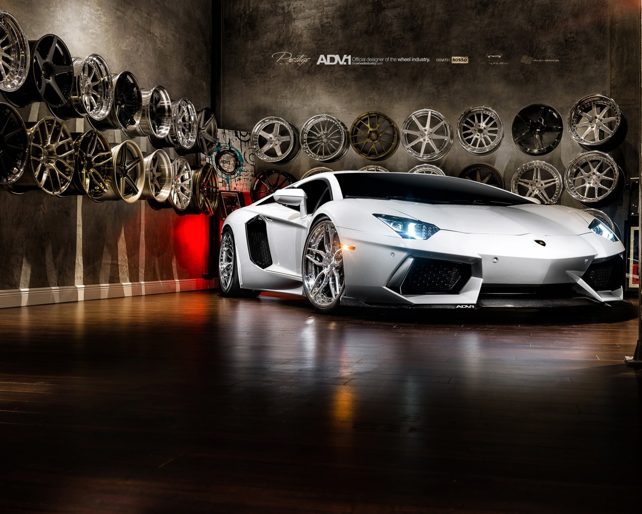 Lamborghini Aventador On ADV.1 Wheels Wallpaper for Desktop 1280x1024