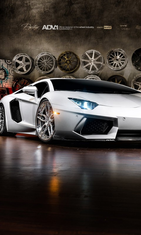 Lamborghini Aventador On ADV.1 Wheels Wallpaper for SAMSUNG Galaxy S3 Mini