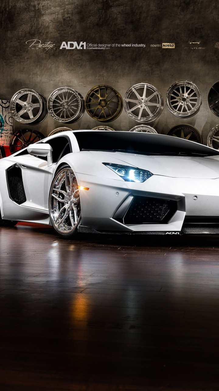 Lamborghini Aventador On ADV.1 Wheels Wallpaper for Xiaomi Redmi 1S