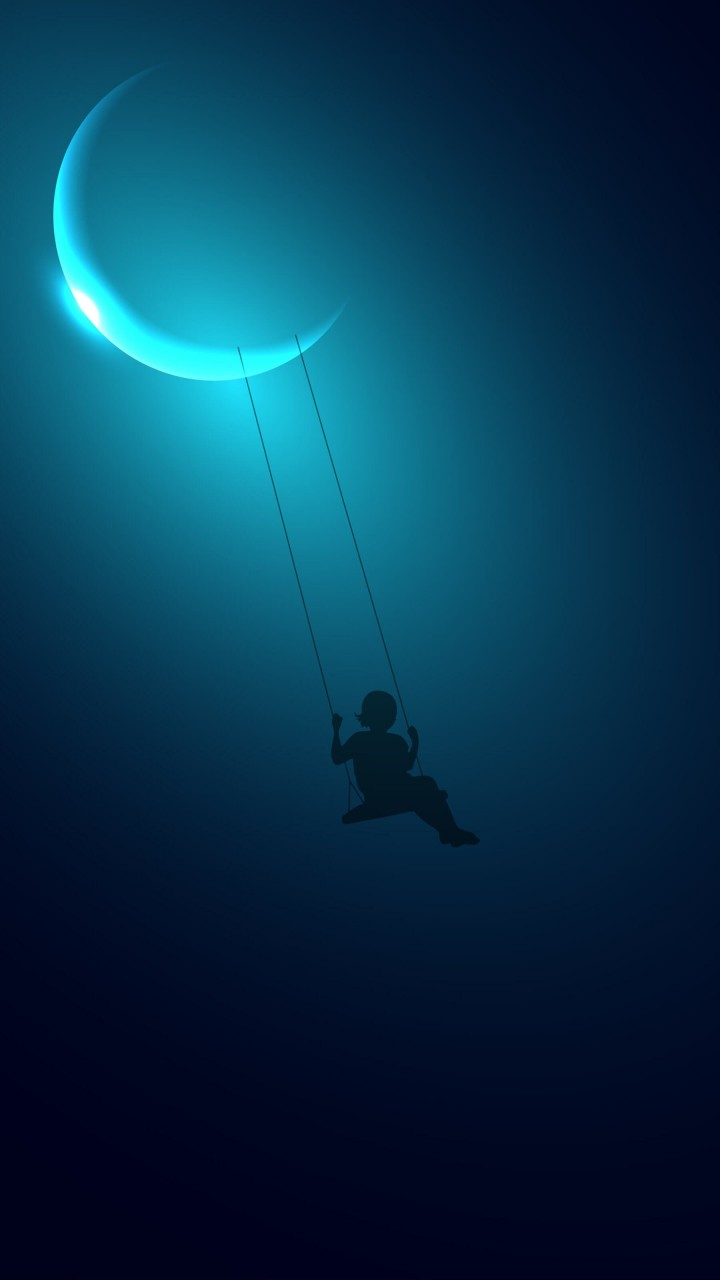 Download Little Girl Swinging on the Moon HD wallpaper for ...