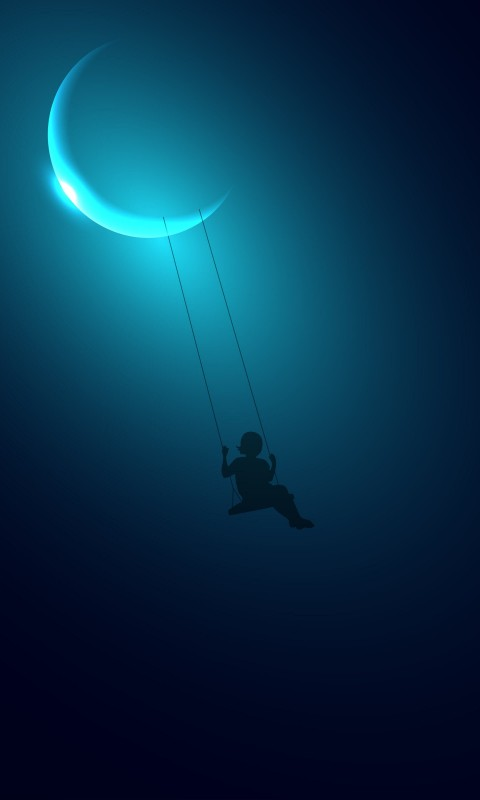 Little Girl Swinging on the Moon Wallpaper for HTC Desire HD