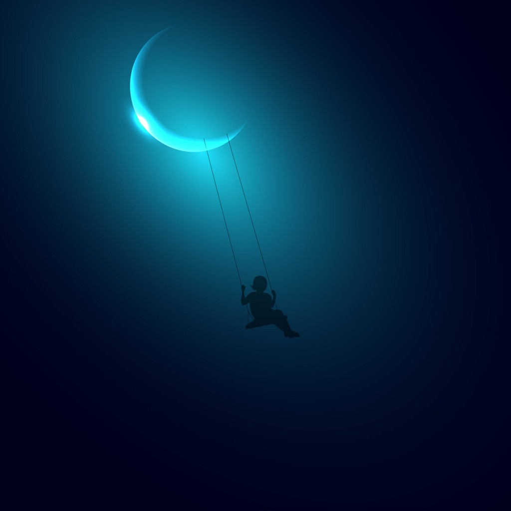 Little Girl Swinging on the Moon Wallpaper for Apple iPad 2