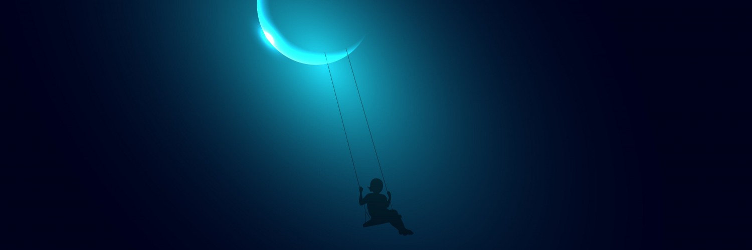 Little Girl Swinging on the Moon Wallpaper for Social Media Twitter Header