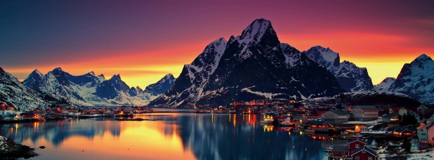 Lofoten Islands, Norway Wallpaper for Social Media Facebook Cover