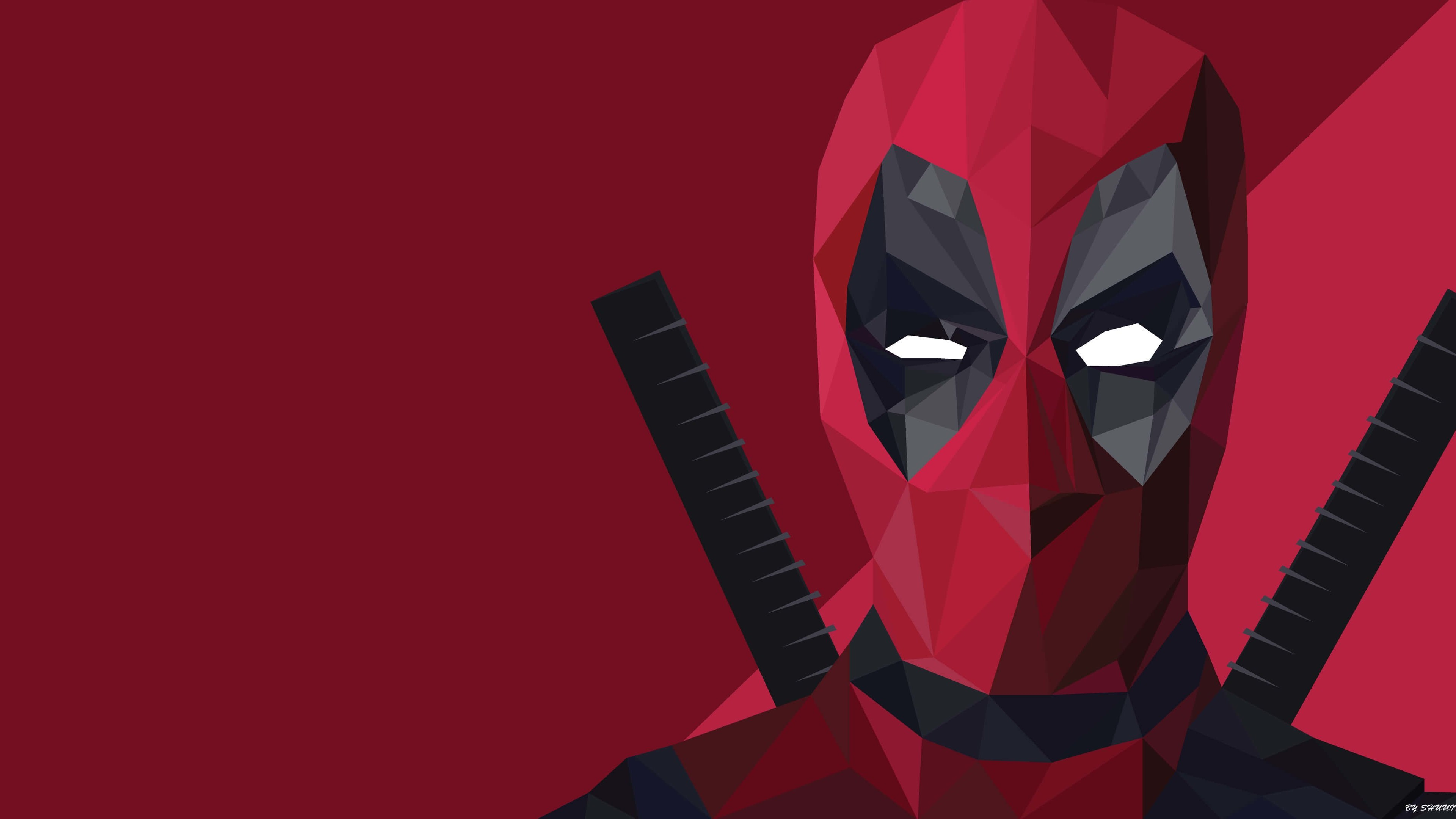 Low Poly Deadpool Wallpaper for Desktop 4K 3840x2160