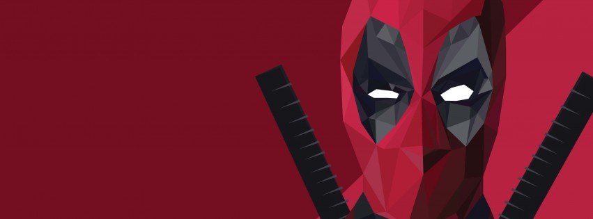 Low Poly Deadpool Wallpaper for Social Media Facebook Cover