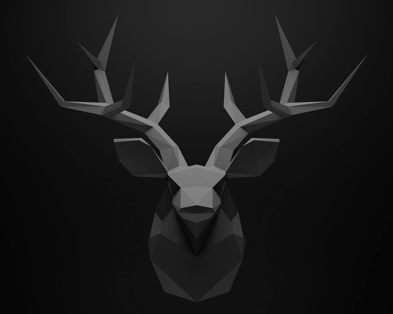 Low Poly Deer Head Wallpaper for Desktop 1280x1024