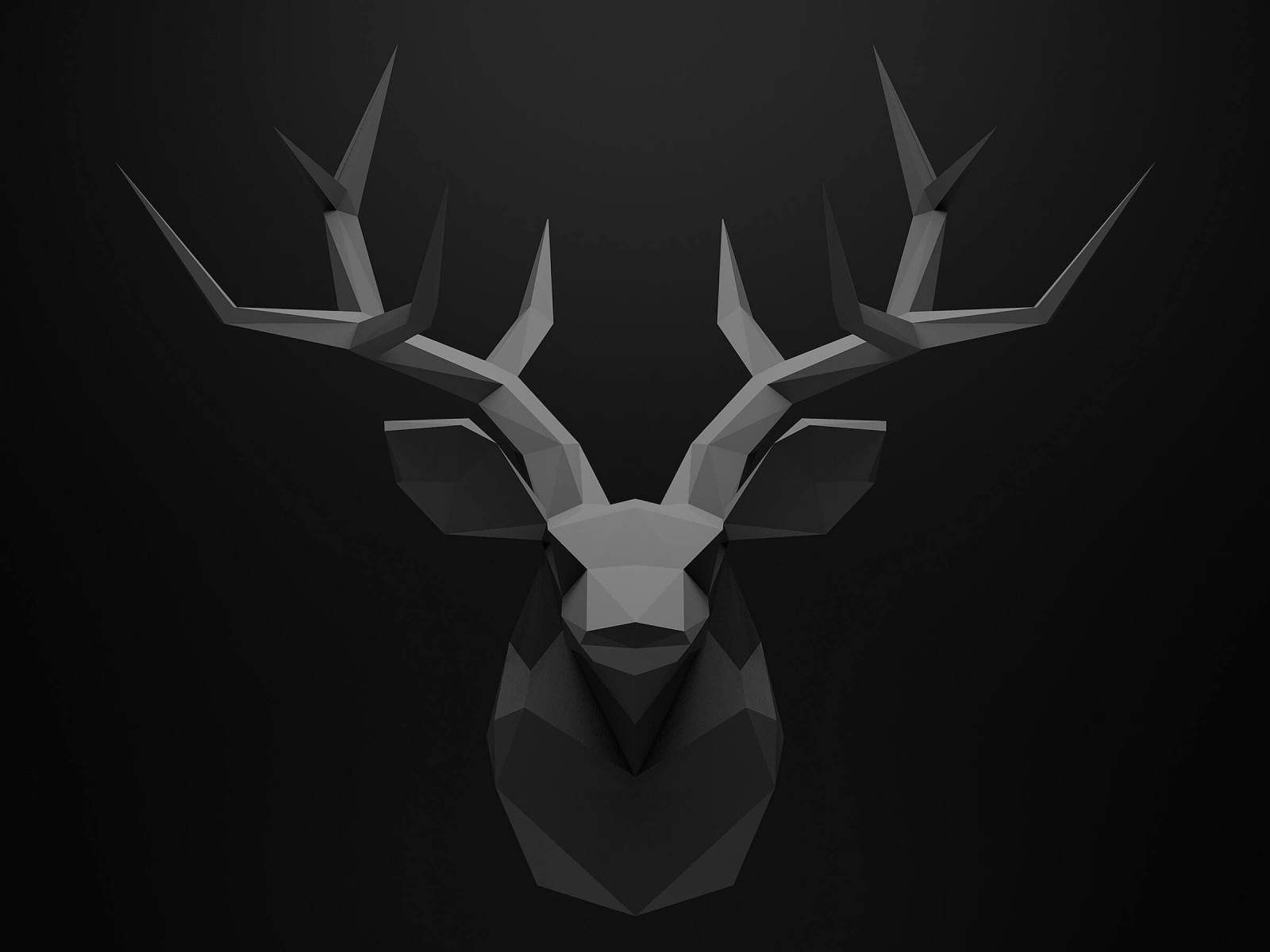 Low Poly Deer Head Wallpaper for Desktop 1600x1200